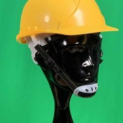 Yellow helmet with chin strap