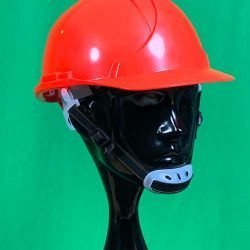 Red Helmet with Chin Strap